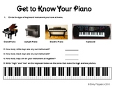 Get to Know Your Piano Worksheet