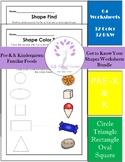 Get to Know Your Shapes PreK-K Familiar Foods Math Worksheets