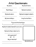 Get to Know Your Students! Artist Questionnaire