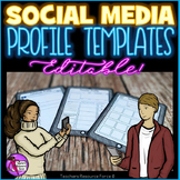 First day of school All about me Social Media Character profile templates