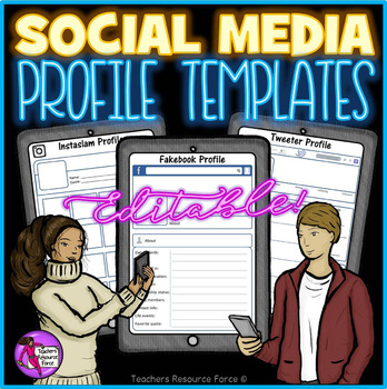 First day of school activities All about me Social Media Character profiles