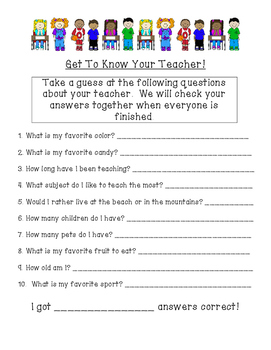 Get to Know Your Teacher Beginning of School Activity!