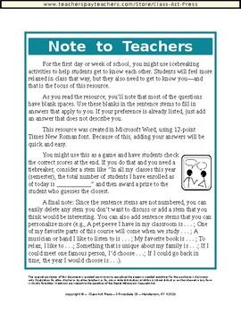 Meet the Teacher: Editable Questionnaire