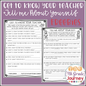 Get to Know Your Teacher + Get to Know Your Students