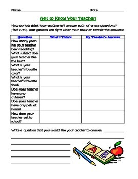 Get to Know Your Teacher Questionnaire