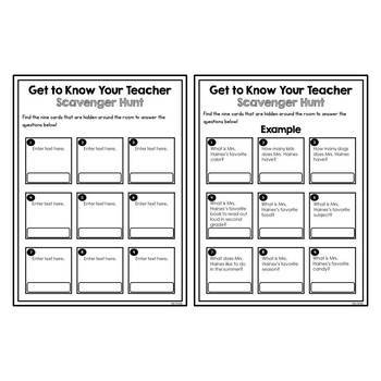 Get to Know Your Teacher Scavenger Hunt - EDITABLE