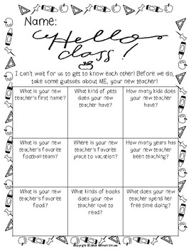 Get to Know Your Teacher activity