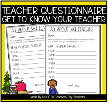 Get to Know Your Teacher for Parents- Great for Teacher Appreciation Days