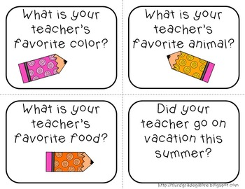 Get to Know Your Teacher task cards