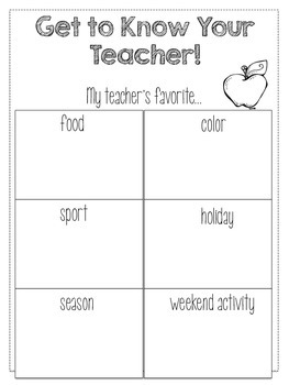 Get to Know the Teacher Ice Breaker!