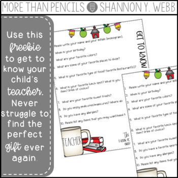 Get to Know the Teacher Questionnaire {FREEBIE}