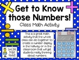 Get to Know those Numbers! ~ A Class Math Activity Display