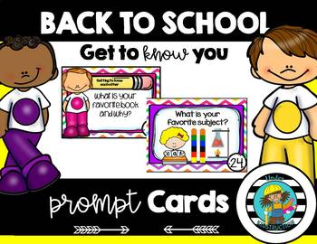 Get to Know you Cards; Back To School Prompt Cards