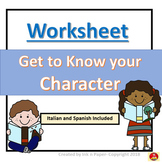 Get to Know your Character-Worksheet in English, Spanish,
