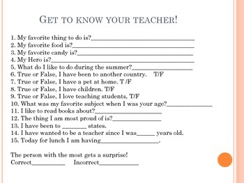Get to Know your Teacher!