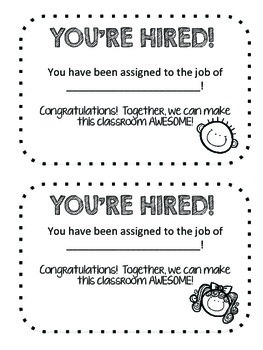 Get to Work! - Classroom jobs, descriptions, & application