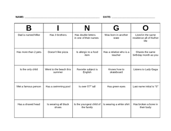 Get-to-know BINGO
