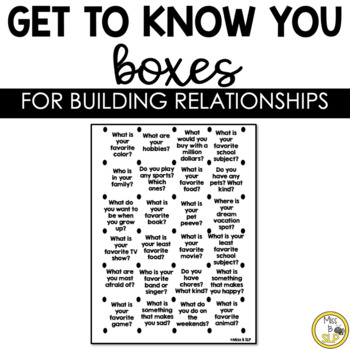 Get to know You Boxes **NO PREP**