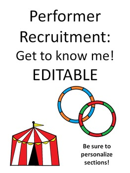 Get to know me! Circus performer edition. EDITABLE