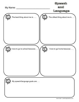 Get to Know Me Speech and Language Sheet