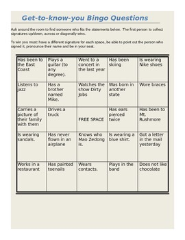 Get to know you BINGO (editable)