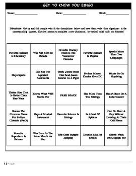 Get to know you Bingo - Icebreaker Activity
