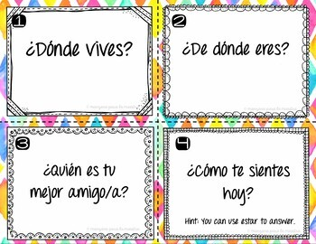 Get to know you Spanish task cards questions back to school or year end review