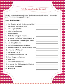 Get-to-know-you activities in German
