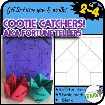 Get to know you and common core math Cootie Catchers aka Fortune Tellers
