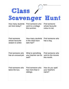 Get to know you scavenger hunt