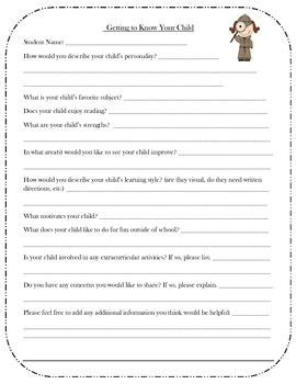 Get to know your child detective form