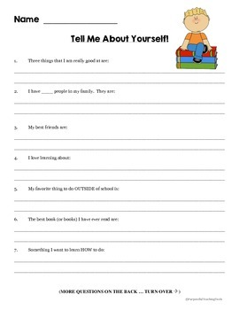 Student Interest Inventory - Student Questionnaire for Student - Back to School