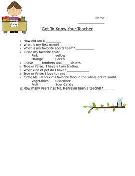 Get to know your teacher