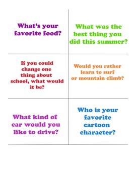 Get you know you questions, ice breaker, team building