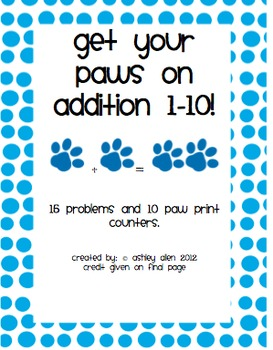 Get your  paws on addition 1-10