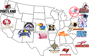 Get Your Sports Fans In The Know About How Logos Can Reflect Us - Map-of-sports-teams-in-us