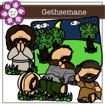 Gethsemane digital Clipart (color and black&white)