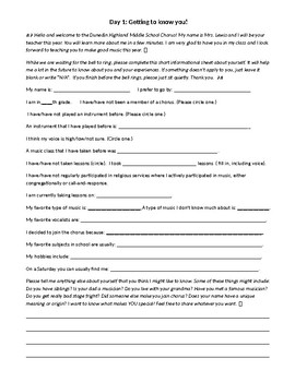 Geting to Know You - a handout for day 1 of music class