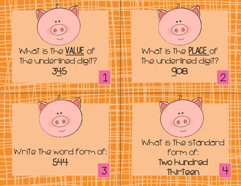 Third and Fourth Grade Place Value Task Cards (Differentiated)