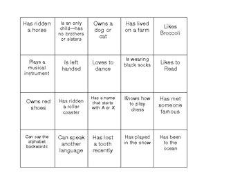 Getting Acquainted Bingo for Buddies