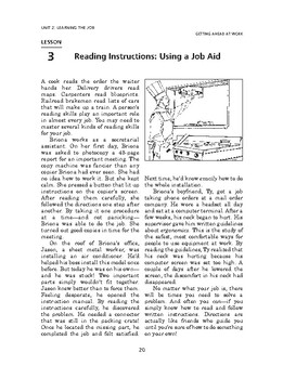Getting Ahead at Work: Learning the Job-Reading Instructions: Using a Job Aid