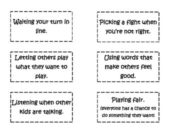 Getting Along vs. Not Getting Along Sorting Activity