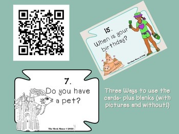 Getting Aquainted Task Cards and QR codes