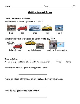 Transportation Getting Around Town Daily Living Skills 3 Worksheets