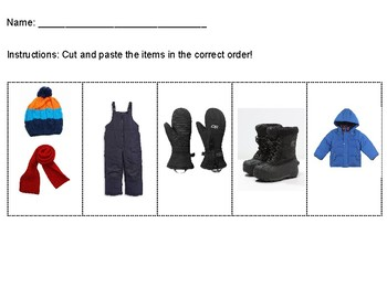 Getting Dressed for Winter Sequence Visual+Cut and Paste Activity Included! ASD