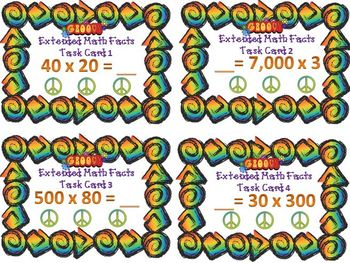 Getting Groovy with Extended Math Facts Task Cards (Free)