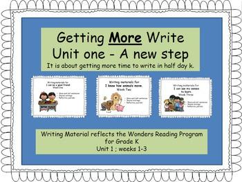 Writing responses for the Wonders Reading Program, Unit one.