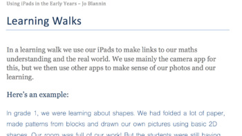 Getting Outdoors with iPads: Maths 'Learning Walks' for Elementary Students
