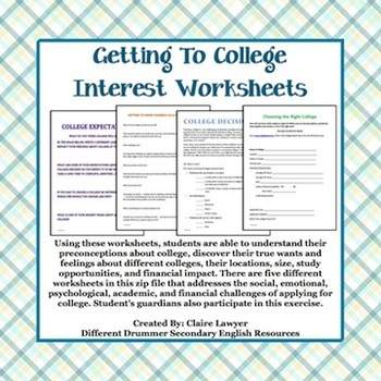 college counseling student interest worksheets tpt