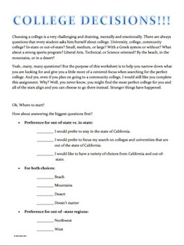 College Counseling- Student Interest Worksheets